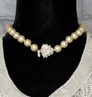 Monet Pearl Necklace Choker Silver Tone Rhinestone Leaf Clasp VINTAGE RUNWAY