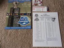 2009 Ccha Playoffs College Hockey Tournament Program + Ticket Stub Ohio State