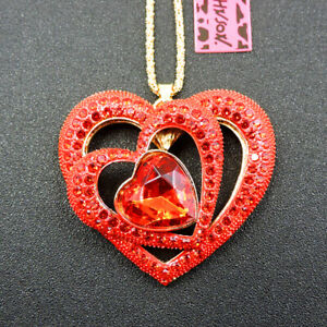 Betsey Johnson Red Bling Rhinestone Love Heart Crystal Sweater Chain Necklace