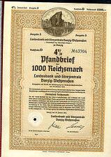 Danzig - Pfandbrief 1000 DM entwertet - Landesbank Girozentr. Danzig 1941 (D)