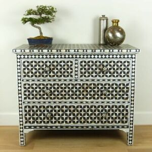 Bone Inlay Chest of 4 drawers Black Mother of pearl (MADE TO ORDER)