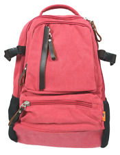 """Canvas 14"""" Laptop Backpack with Leather Trims and 2 Drink Bottle Pockets - Pink"""