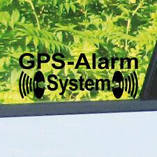 2 Aufkleber GPS Alarm System schwarz gespiegelt Tattoo Folie Auto Haus Fenster