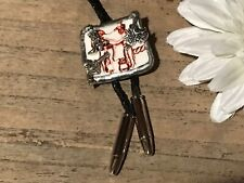 Recycled Broken Porcelain Jewelry, Western Cowboy Bolo Tie