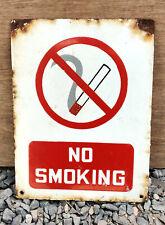 Vintage Enamel Sign Board No Smoking Old Cigarette Sign Red & White 1930s