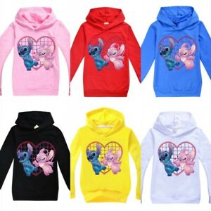 Stitch Kids Boys Girls Hoodie Hooded Long Sleeve Jumper Tops Sweatshirt Gifts UK