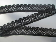 5 Yards black Elastic Lace Beautiful Heart Pattern Lace Apparel DIY Decoration