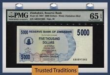 TT PK 45 2007 ZIMBABWE $5000 - RESERVE BANK PMG 65 EPQ GEM UNCIRCULATED!