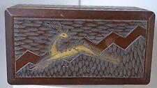 Vintage Wood Carved Jewelry Gazella Box Musical