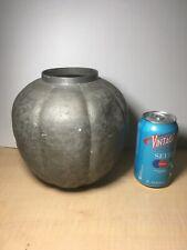 Large Antique ASIAN PEWTER Jar Hand Etched Motif Unmarked