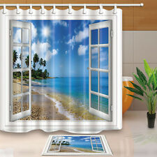 Seaside Scenery Fabric Waterproof Bathroom Shower Curtain Liner Bathmat Decor