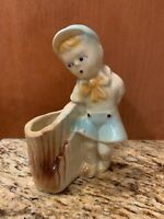 Vintage Shawnee Boy and Stump Planter USA 533 Excellent