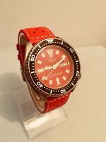 SEIKO 150M Scuba Diver Date Automatic mens watch 6309-7290 Red Dial + FREE STRAP