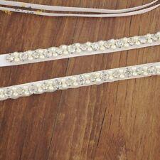 Thin Crystal Pearl Bridal Sash Rhinestone Wedding Belt Bridesmaid Prom Sash Belt