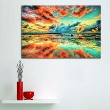Abstract Trippy Sunset Sea Beach Art Silk Cloth Poster Home Wall Decor 24x36inch