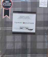 Tommy Hilfiger GRAY Plaid 3pc KING FLANNEL DUVET Cover Set  ~ Maxwell COTTON New
