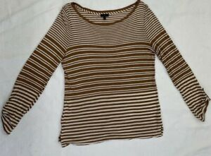 Talbots Women's Brown & White Striped Long Sleeve Boatneck Pullover Top Size M