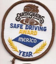 Merico truck driver patch Earth Grains safe driving award  year 3-1/2 X 3 #1555
