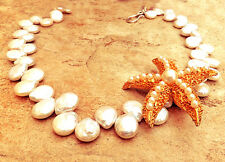 BRIDAL JEWELRY ! STARFISH PENDANT PEARL PENDANT COIN GEM NECKLACE WEDDING WHITE