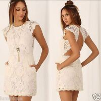 Lace Open Back Party Dress Lined L 12 14 Beige Ivory Bodycon Mesh Sexy Sheath