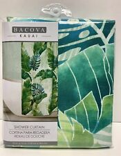 Bacova Kauai Tropical Green Palm Leaves Fabric Shower Curtain NEW 70x 72 Inch