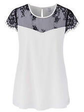 NEW - EX JOANNA HOPE CREAM LACE TRIM SWING BLOUSE TOP-SIZES 18 20 22 24 26 28 32