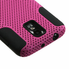 Pink Mesh 2-in-1 Hybrid Hard Soft Silicone Gel Case Cover Samsung Galaxy S2 T989