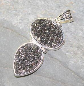 SILVER Vintage Style Silver Gray Rainbow Titanium Druzy Drusy Pendant WP13103