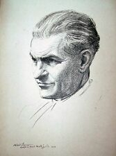 """Portrait of """"Harold Gould"""" by Albert Sterner (pencil drawing)"""