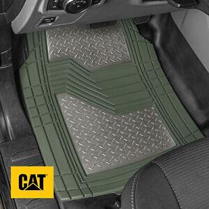 Caterpillar® Green Deep Dish Rubber Car Floor Mats All Weather Spill-Capture