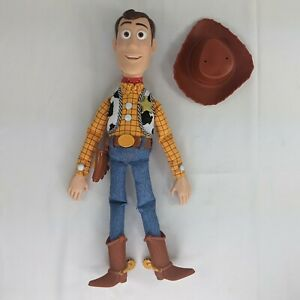 """Disney Pixar Toy Story Woody Pull String Doll 16"""" Thinkway Toy Working with Hat"""