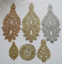 1Flower Lace Applique Stitch On Bridal Dress Motif Diamond Crystal Bead wedding