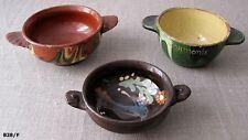 3 jolis bols anciens en terre cuite émaillée régionale