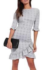 Womens Ladies Check Tartan Curved Hem Frill Bodycon Dress Ruffle Tea 3/4 Sleeve
