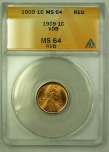 1909 VDB Lincoln Wheat Cent 1c ANACS MS-64 Red (F) (WW)