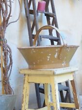 Late19TH French Antique Harvest Basket / painted metal / Yellow Orange Patina