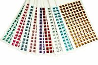 8MM SQUARE Gemstone 120 Pcs Self Adhesive Acrylic Rhinestones Stickers