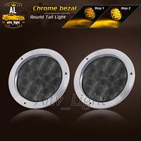 "2 pcs Smoked Lens Amber 12 LED 4"" Round Turn Signal Tail Light 12V Chrome Bezel"