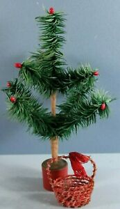 Old German Christmas Ornament Miniature Basket Seed Beaded for Feather Tree