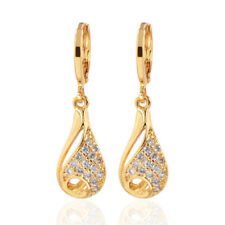 Women 18K Gold Plated Waterdrop Cubic Zirconia CZ Dangle Drop Earrings Jewelry