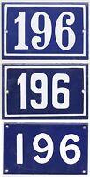 Old blue French house number 196 door gate plate plaque enamel steel metal sign