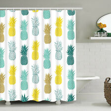 Shower Curtain Pineapple Fruit Printed Waterproof Bathroom Decor With 12 Hooks