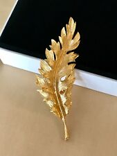 "1"" x 3"" Vintage Signed Coro Textured Gold Leaf Feather Brooch Pin"