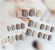 24pcs/set Girl's Great Gift Milk Gray Color Short Square Full False Nails & Glue