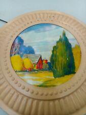 "Vintage Stove Chimney Flue Cover Pastoral Outdoor Scene Wall Art 8"" Diameter"
