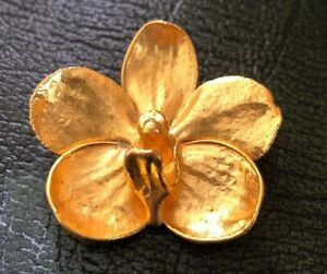 Beautiful Unusual Vintage  24 Carat Gold Plated Orchid Signed Rsis Brooch