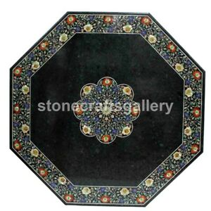 """36"""" Black Marble Top Dining Table Carnelian Floral Inlay Living Room Decors B193"""
