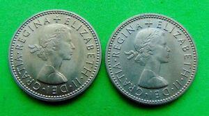 ELIZABETH  II  PAIR  BU  *1965*  SHILLINGS  1/-`s ...LUCIDO_8  COINS