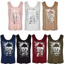 Women Ladies Crepe Scallop Edge Skull Print Sleeveless Vest Top Plus Size