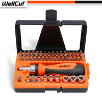 WellCut 44pcs Heavy Duty Ratchet Screwdriver and Bit Set with Case for DIY Tools